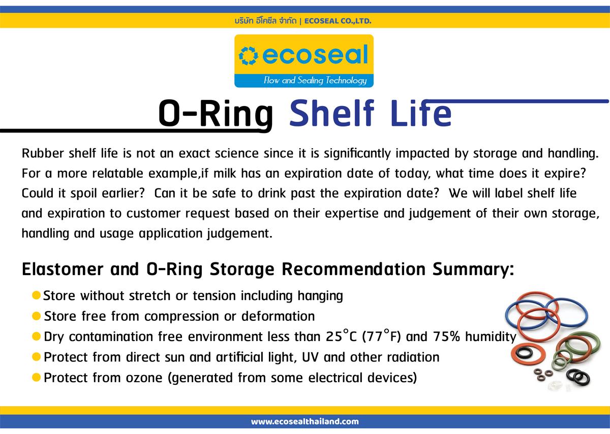 O-Ring Shelf Life อายุการเก็บรักษาโอริง